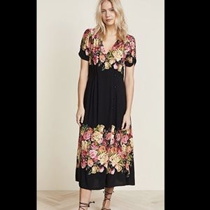 Free People floral Side Button ShortSleeve Dress S